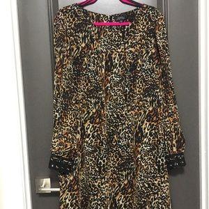 Tahari Cheetah Print Long sleeve dress